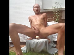 Skinny gay amateur masturbating full nude with a dildo