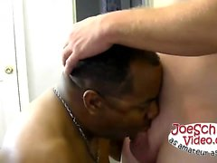 Joe gets on that big hooded boner and gets his cock out