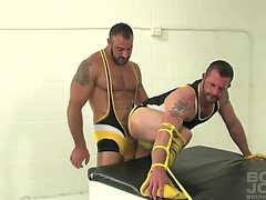 Spencer Reed fucks Morgan Blacks tight ass while hes tied up