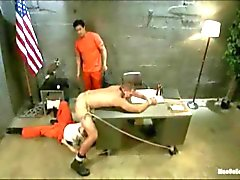 Two perverts break out of their cell and relentlessly edge Officer Andrew Justice