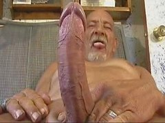Old man with a big tool wanking