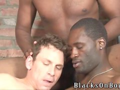 Black men sharing the ass of a hesitating white guy